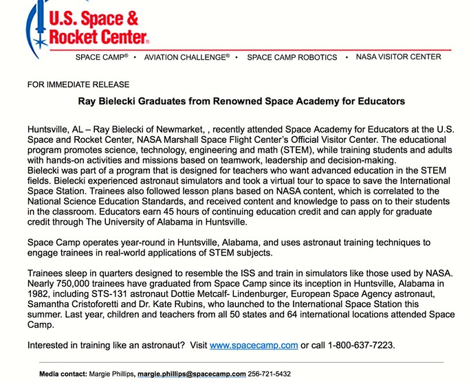 space camp news release